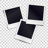 Three photorealistic blank retro photo frames on transparent fone Royalty Free Stock Photos