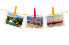 Three photos of Croatia on clothesline Stock Photo