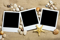 Three photos on the sand. Memories about vacation Royalty Free Stock Photos