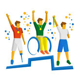 Three physically disabled sportsman with medal on podium Royalty Free Stock Photos