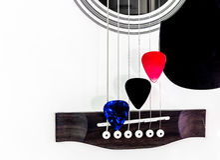 Three pick guitar. On white guitar background Stock Photos