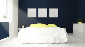 three picture frames on a bedroom Royalty Free Stock Photo