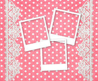 Three picture photo frames over pink background Stock Photos