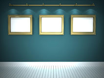 Three pictures in blue gallery. Three pictures in golden frames in blue gallery Royalty Free Stock Photo