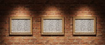 Three pictures on a brick wall Stock Photography
