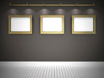 Three pictures in grey gallery. Golden frames in grey gallery Stock Photos