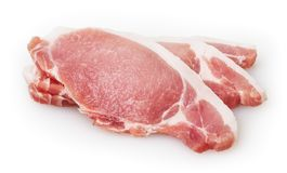 Three piece of raw pork meat isolated on white background royalty free stock photo