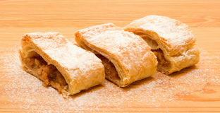 Three pieces of apple strudel Royalty Free Stock Photos