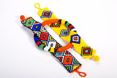 Three Pieces of Brightly Colored Beaded Zulu Jewelry Royalty Free Stock Image
