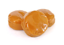 Three Pieces of Caramel Candy Royalty Free Stock Photo