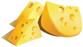 Three pieces of cheese with round holes. royalty free illustration