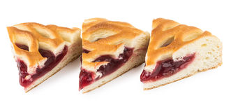 Three pieces of cherry pie on white Stock Images