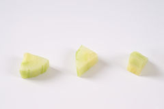 Three pieces of cucumber Stock Images