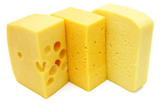 Three pieces of different kinds of cheese Royalty Free Stock Photo