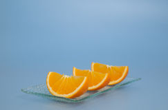 Three pieces of fresh orange Royalty Free Stock Image