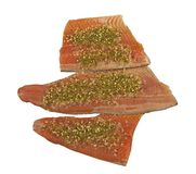 Three pieces of fresh raw rainbow trout with spices. Three cut pieces of fresh raw Rainbow trout filet with lemon and herb spices for the gourmet cook stock photos