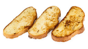 Three pieces of fried bread isolated on white Royalty Free Stock Images
