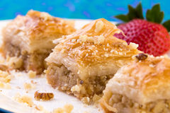 Three Pieces of Golden Color Walnut Baklava Stock Photo