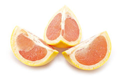Three pieces of grapefruit Stock Photography