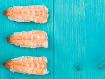Three Pieces of King Prawn Japanese Style Sushi Royalty Free Stock Photos