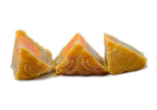 Three pieces of moon cake Royalty Free Stock Photography