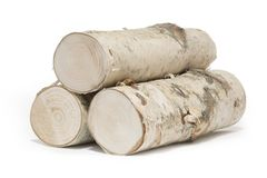Three Pieces Of Birch Wood On White Background Royalty Free Stock Photography