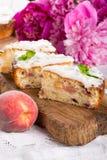 Three pieces of peach cake stock photos