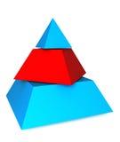 Three pieces pyramid. 3D pyramid cuted on three pieces Royalty Free Stock Photos