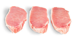 Three Pieces Of Raw Pork. Isolated On White Background Royalty Free Stock Photos
