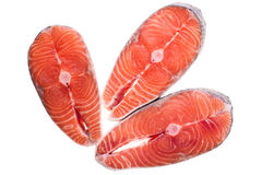 Three pieces of raw salmon Stock Images