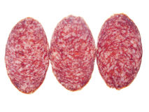 Three pieces of sausage. On a white background. In isolation Stock Image