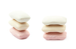 Three pieces of soap isolated Royalty Free Stock Image