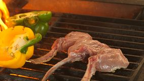 Three pieces of steak on the bone are roasted on the grill, the pepper is cut in half, roasted on the grill, from the stock video footage