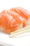 Three pieces of sushi. On white background Royalty Free Stock Photos