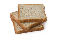 Three pieces of toast bread on white background Stock Photography