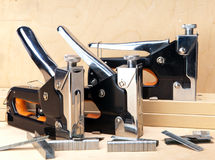 Three pieces of the various metal stapler for repair work in the house Stock Photo