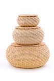 Three pieces wicker baskets. On the white background. Isolated on white royalty free stock images