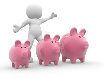 Three piggy bank. 3d people- human character - and three piggy bank. 3d render illustration Royalty Free Stock Images