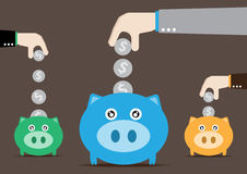 Three piggy bank Royalty Free Stock Images