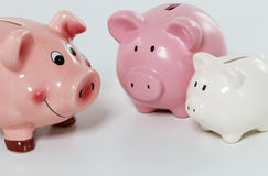 Three piggybanks on table Royalty Free Stock Images