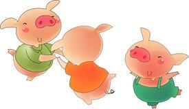 Three pigs 1. Three pigs very happy in dancer stock illustration
