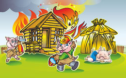 Three pigs. Pair of two pigs  extinguish a fire in a wooden house in the bungalow sleeps third hut Royalty Free Stock Images