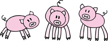 Three pigs. Three little pigs on white background. illustration Royalty Free Stock Image
