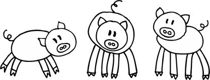 Three pigs. Three little pigs on white background. illustration Stock Photography