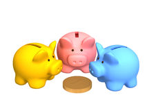 Three  pigs of a coin box, worth around of coin. Three  pigs of a coin box, worth around of one coin. Objects over white Royalty Free Stock Images