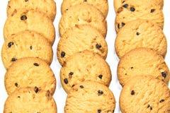 Three piles of chocolate chip cookies Stock Photos