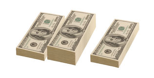 Three piles of dollars. On white background Stock Photography