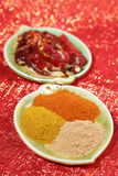 Three piles of indian powder spice on plate Royalty Free Stock Photos