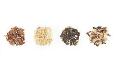 Three Piles of Rice Make the Whole. Three types of rice that the wild rice mix consists of stock photos