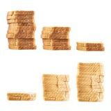 Three piles of toast bread slices Stock Photos